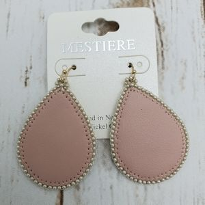 Leather Teardrop Dangle Hook Earring In Pink Beige
